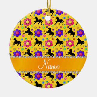 Personalized name yellow horses flowers pattern ceramic ornament
