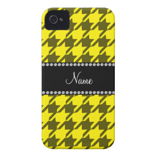 Personalized name yellow houndstooth pattern Case-Mate iPhone 4 cases