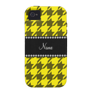 Personalized name yellow houndstooth pattern vibe iPhone 4 cases