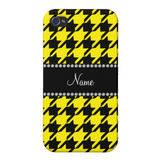 Personalized name yellow houndstooth pattern iPhone 4/4S case