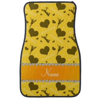 Personalized name yellow i love cheerleading heart car mat