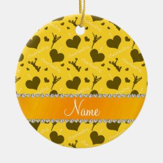 Personalized name yellow i love cheerleading heart ceramic ornament