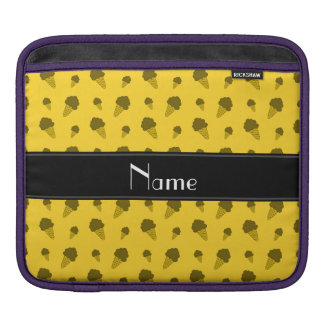 Personalized name yellow ice cream pattern sleeves for iPads
