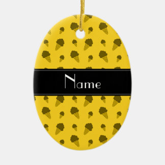 Personalized name yellow ice cream pattern christmas tree ornament
