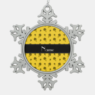 Personalized name yellow ice cream pattern ornament