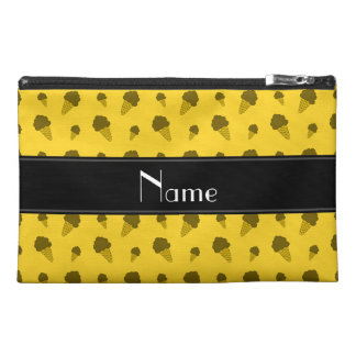 Personalized name yellow ice cream pattern travel accessory bag