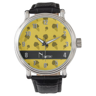 Personalized name yellow ice cream pattern wristwatch