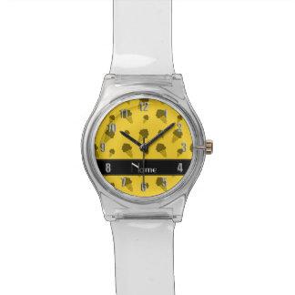 Personalized name yellow ice cream pattern watch