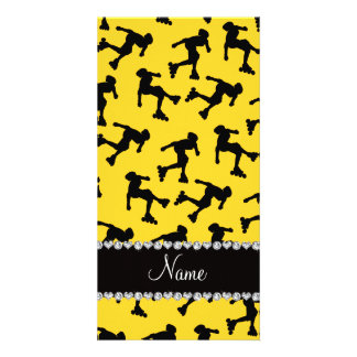 Personalized name yellow inline skating photo card