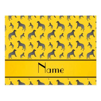 Personalized name yellow Irish wolfhound dogs Postcard