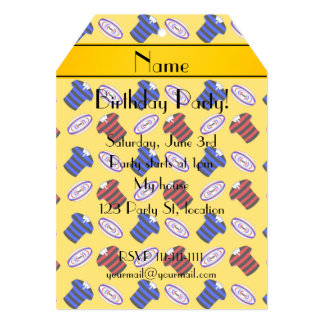 Personalized name yellow jerseys rugby balls cards