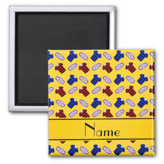 Personalized name yellow jerseys rugby balls fridge magnets