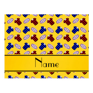 Personalized name yellow jerseys rugby balls postcards