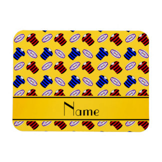 Personalized name yellow jerseys rugby balls rectangle magnet