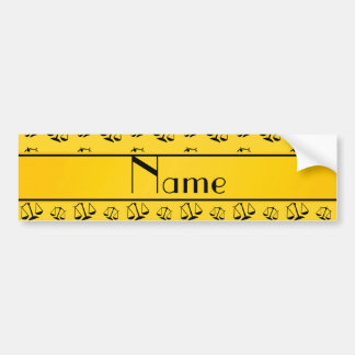 Personalized name yellow justice scales car bumper sticker