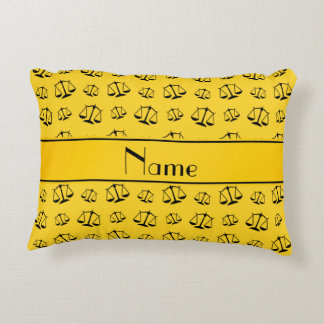 Personalized name yellow justice scales accent pillow