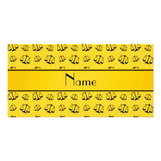 Personalized name yellow justice scales photo card