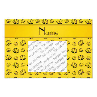 Personalized name yellow justice scales photograph