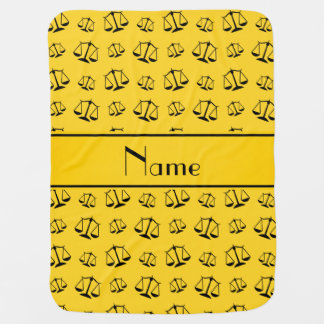 Personalized name yellow justice scales stroller blanket