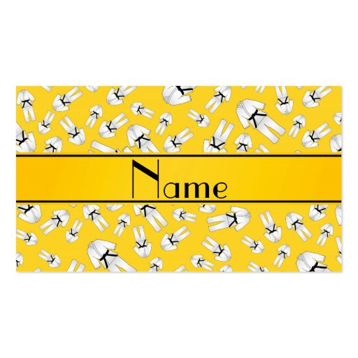 Personalized name yellow karate pattern business cards