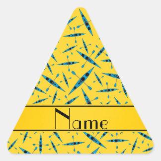 Personalized name yellow kayaks triangle sticker