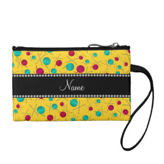 Personalized name yellow knitting pattern coin purse