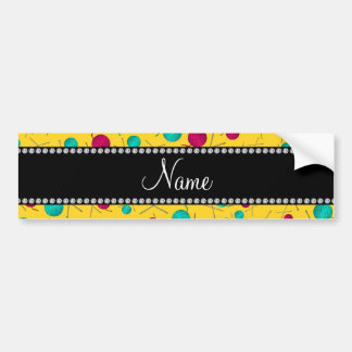 Personalized name yellow knitting pattern bumper stickers