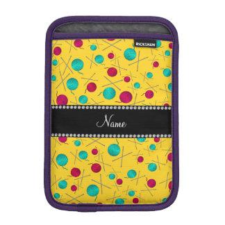 Personalized name yellow knitting pattern iPad mini sleeves