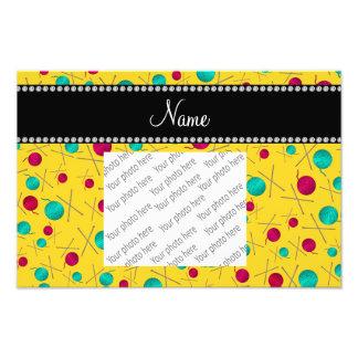Personalized name yellow knitting pattern photo print