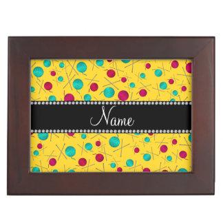 Personalized name yellow knitting pattern keepsake boxes