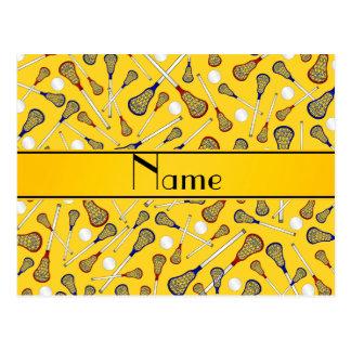 Personalized name yellow lacrosse pattern postcard