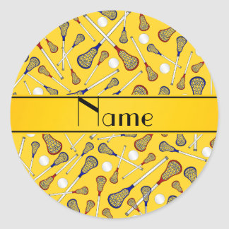 Personalized name yellow lacrosse pattern classic round sticker