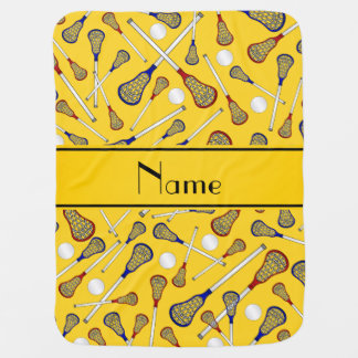 Personalized name yellow lacrosse pattern stroller blanket
