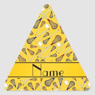 Personalized name yellow lacrosse pattern triangle sticker