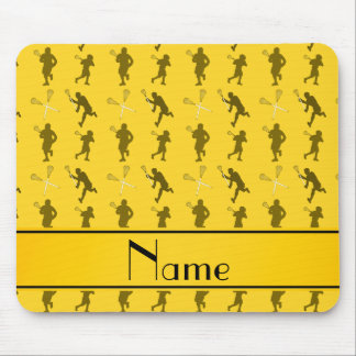 Personalized name yellow lacrosse silhouettes mouse pad