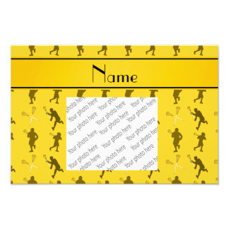 Personalized name yellow lacrosse silhouettes photographic print