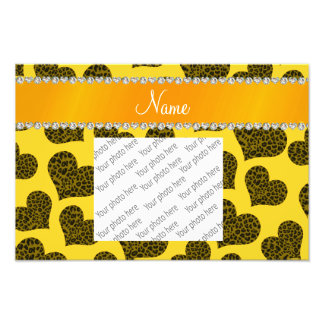 Personalized name yellow leopard hearts photo print
