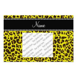 Personalized name yellow leopard pattern photo print