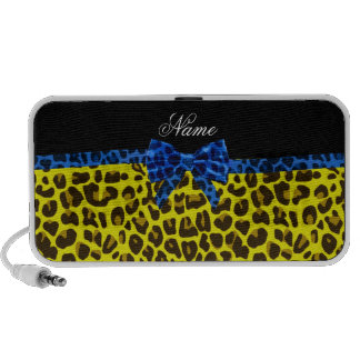 Personalized name yellow leopard print blue bow travelling speaker