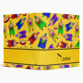 Personalized name yellow mexican wrestling 3 ring binders