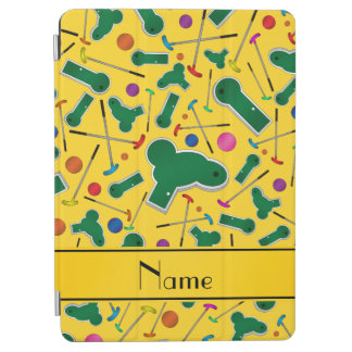 Personalized name yellow mini golf iPad air cover