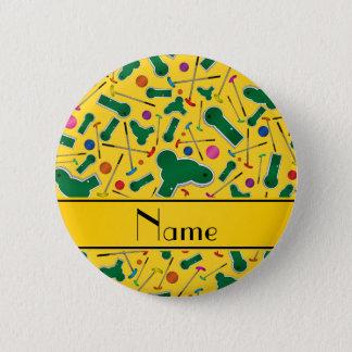 Personalized name yellow mini golf pinback button
