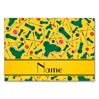 Personalized name yellow mini golf table card
