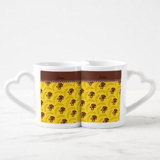 Personalized name yellow monkey bananas couples' coffee mug set