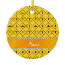 Personalized name yellow moroccan gymnastics ceramic ornament