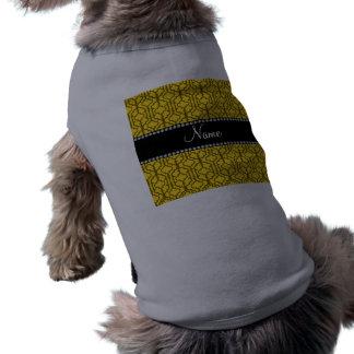 Personalized name yellow moroccan quatrefoil doggie shirt