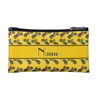 Personalized name yellow motorcycles cosmetic bag