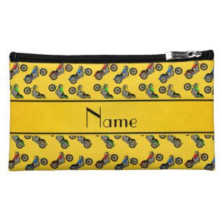 Personalized name yellow motorcycles cosmetic bags