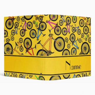 Personalized name yellow mountain bikes 3 ring binder
