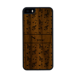 Personalized name yellow music notes carved® walnut iPhone 5 case